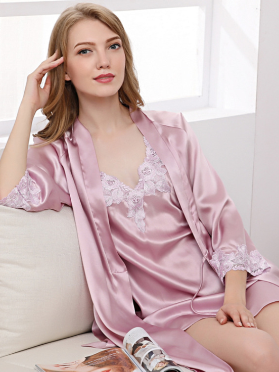 22 Momme High Quality Women's Elegant Silk Robe Set Two Pieces、Real Silk Life