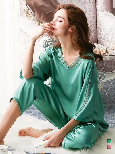 22 Momme Women's Life Style Real Silk Pajamas Set、Real Silk Life