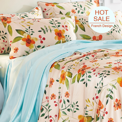 Floral Printed Silk Duvet Cover Set Bedding Set| 4pcs、RealSilkLife