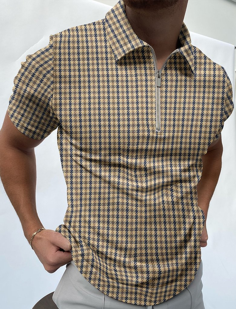 Houndstooth texture polo shirt / [viawink] /
