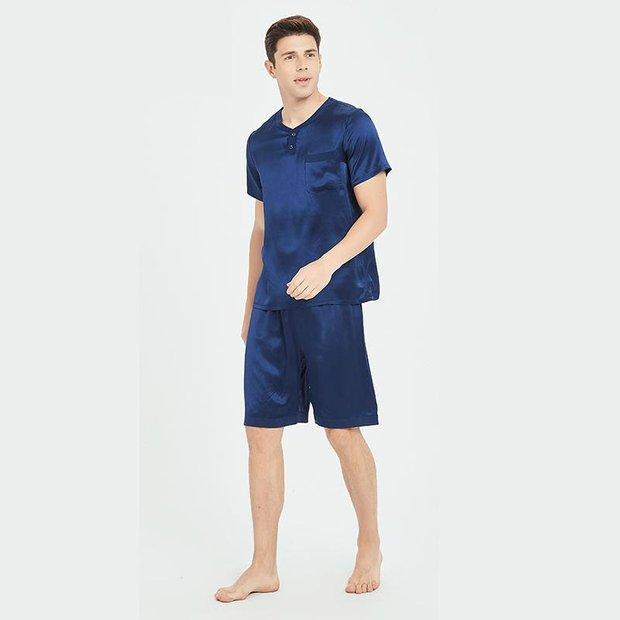 Monogrammed 19 Momme Short Pajamas Set For Men | Two Colors Selected、Real Silk Life