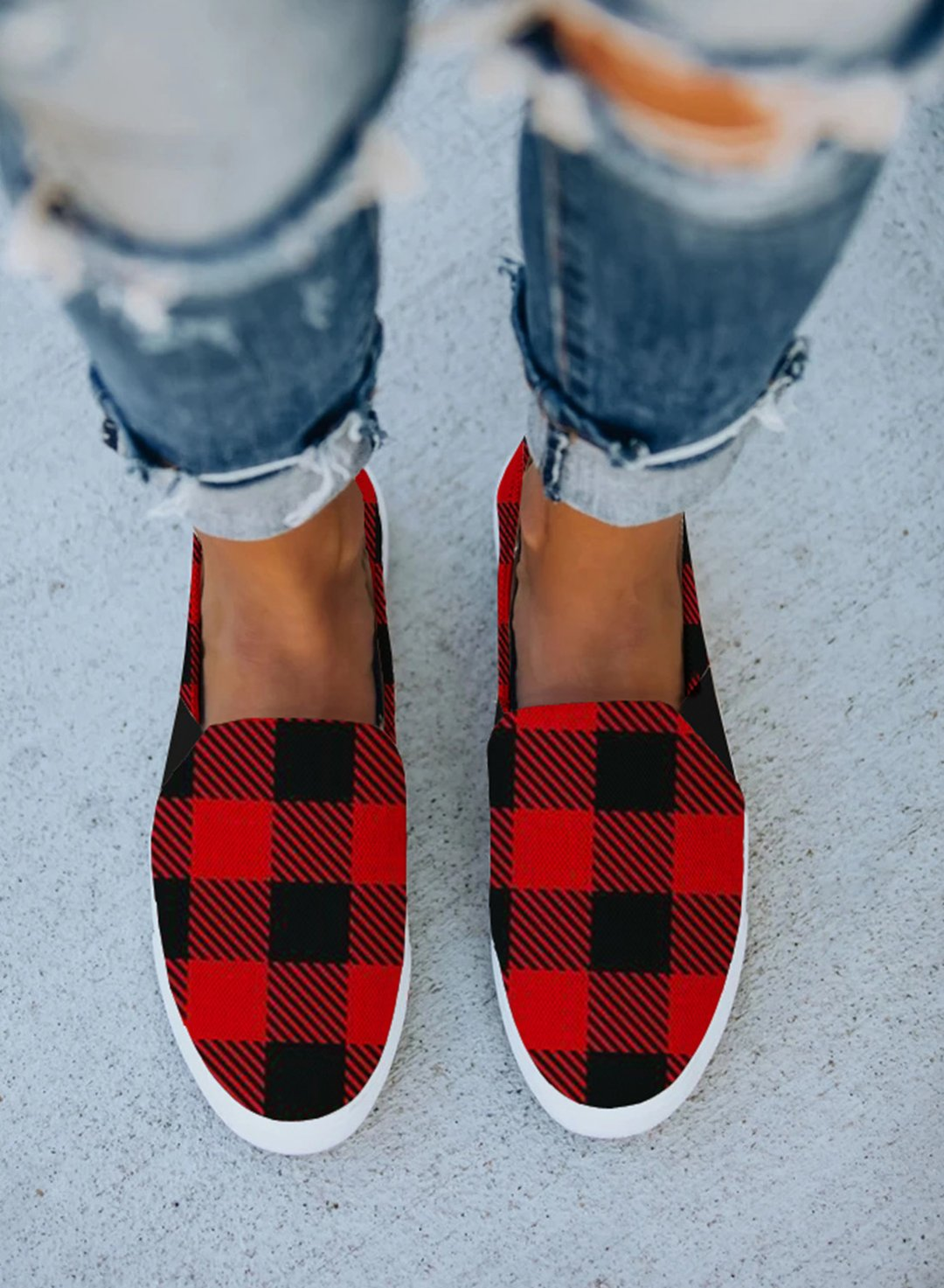 Red Women Flat Plaid Slip on Canvas Shoes LC12428-3