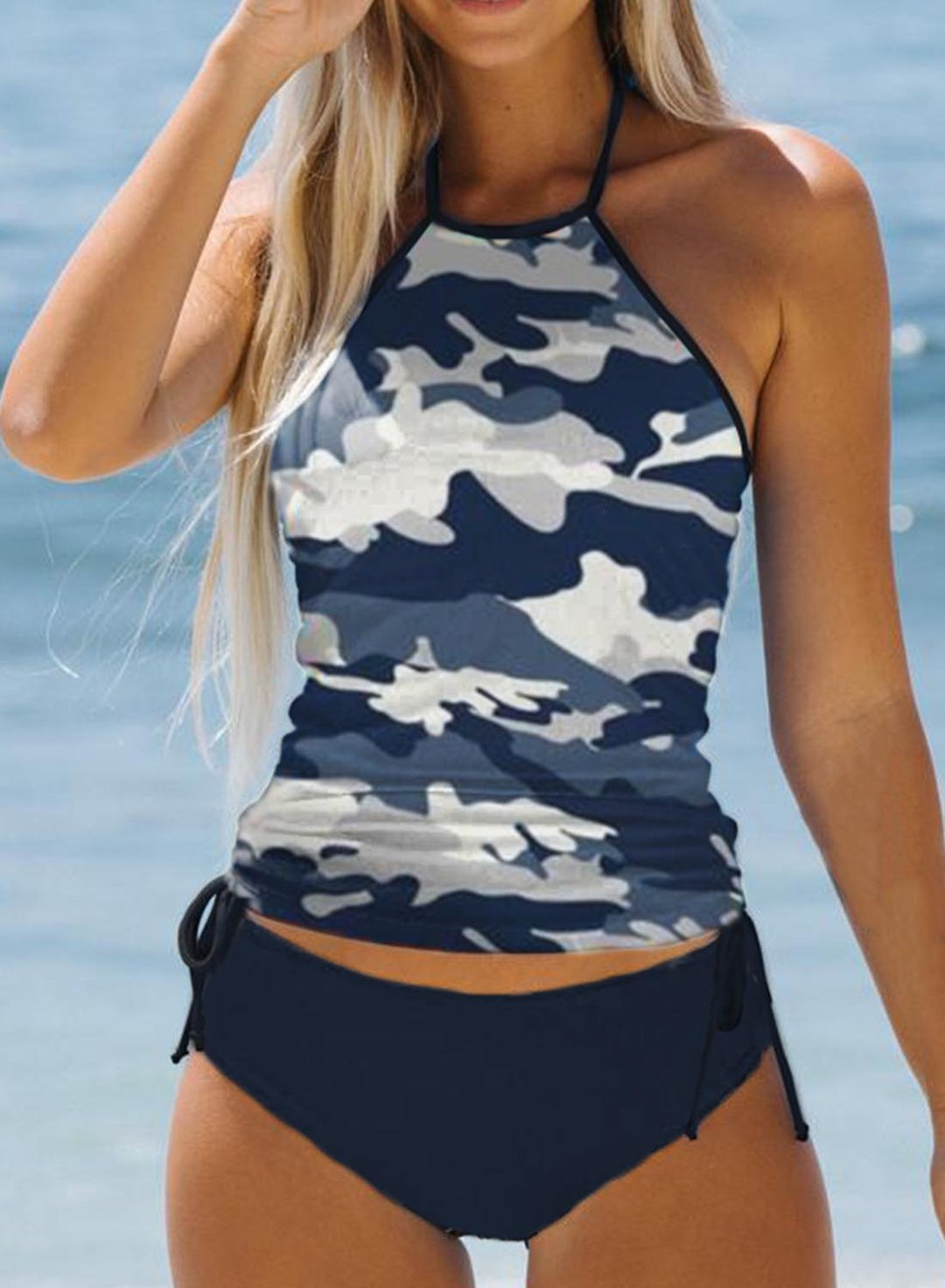Blue Women's Tankinis Camouflage Knot Backless Tankini LC414168-5