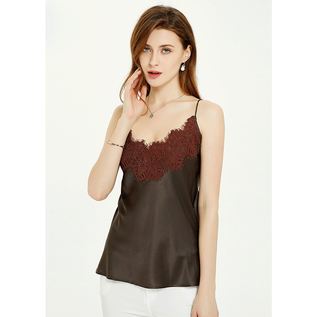 Lace Decorated Silk Camisole Top 丨 Multi Colors Selected、Real Silk Life