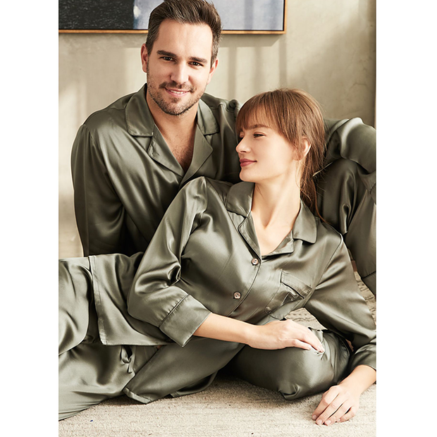 19 Momme Gris Classic Silk Long Pajamas Set For Couple、REAL SILK LIFE