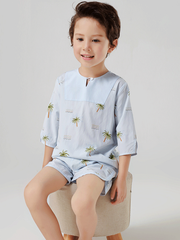 55% Mulberry Silk Tropical Printed Silk Pajamas For Boys、REAL SILK LIFE
