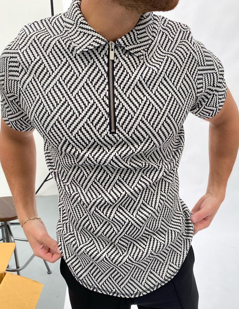 Black and white herringbone jacquard polo shirt / [viawink] /