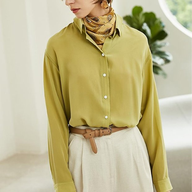 Women Zinnia Yellow Casual Style Silk Basic Blouse、Real Silk Life