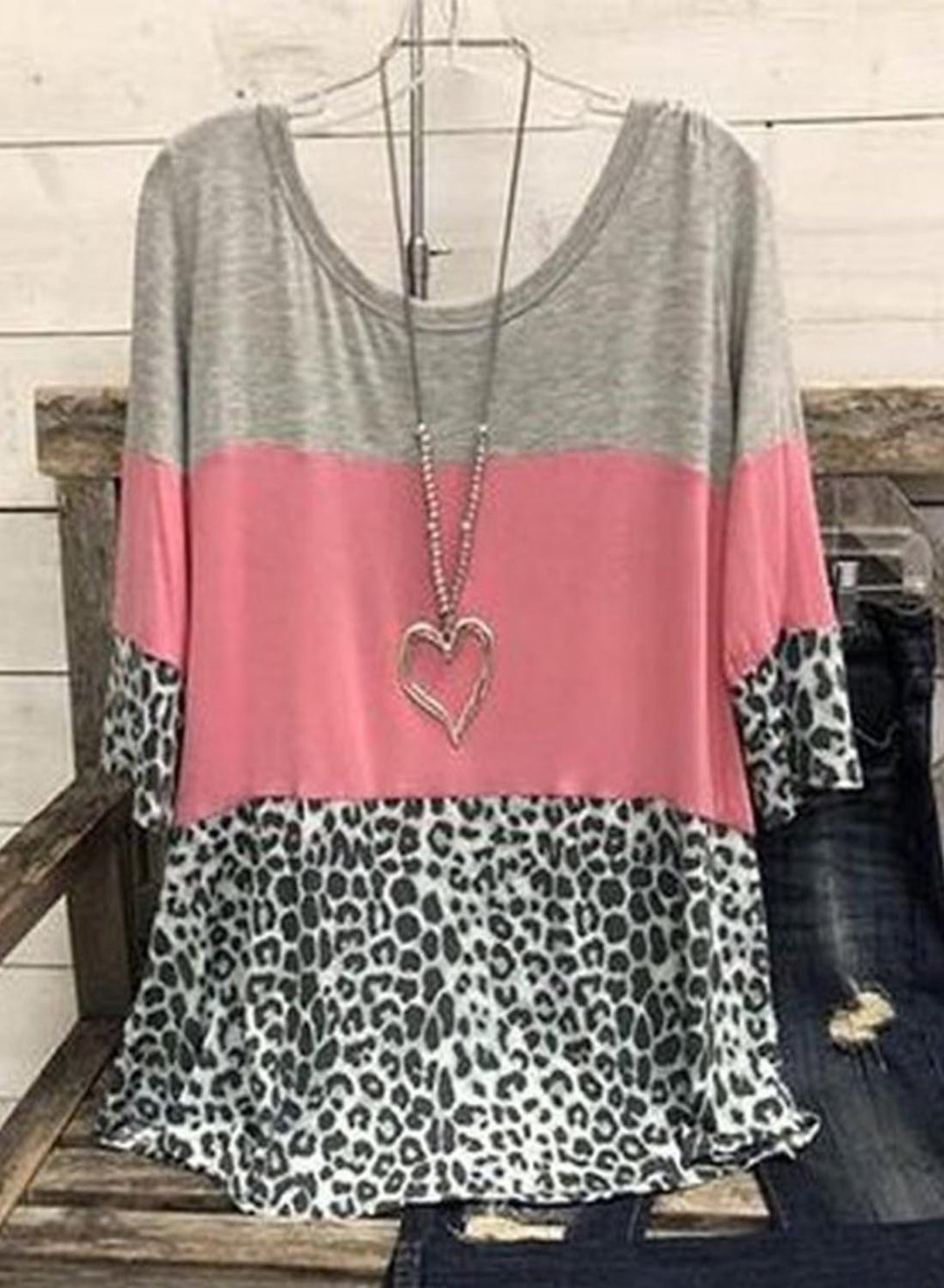 Pink Women's T-shirts Color Block Leopard Round Neck 3/4 Sleeve Summer Basic Daily T-shirts LC2525115-10