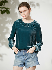 Casual Pullover Pure Color Silk Velvet T-Shirt For Women、Real Silk Life