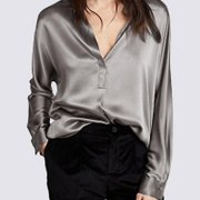 Women Gray V Neck Silk Shirt、Real Silk Life