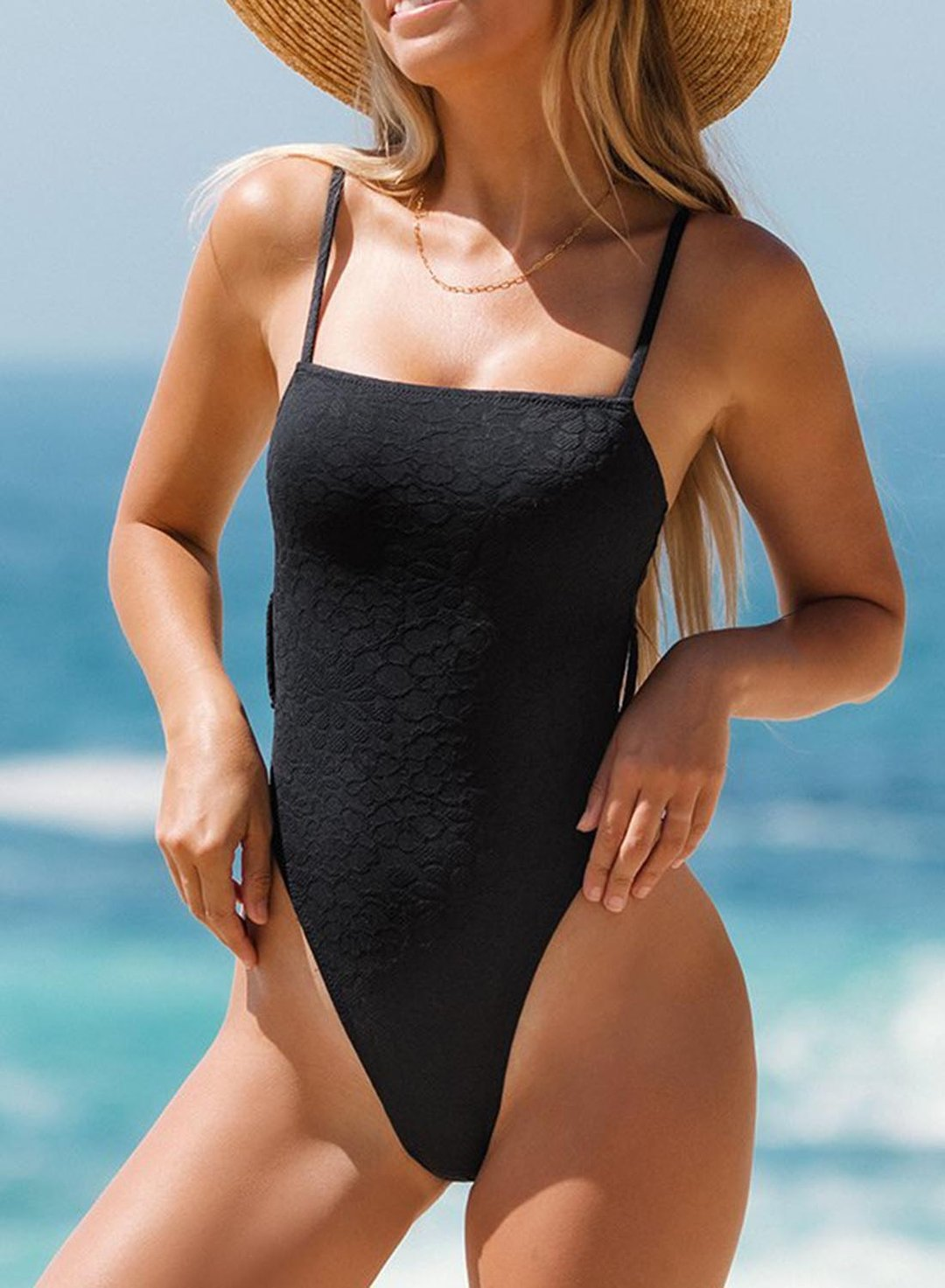 Black Women's Swimsuits Belted One Piece Swimsuit LC442234-2