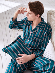 High Quality 19 Momme Peacock Blue Stripes Long Sleeves Silk Pajamas Set For Men、Real Silk Life
