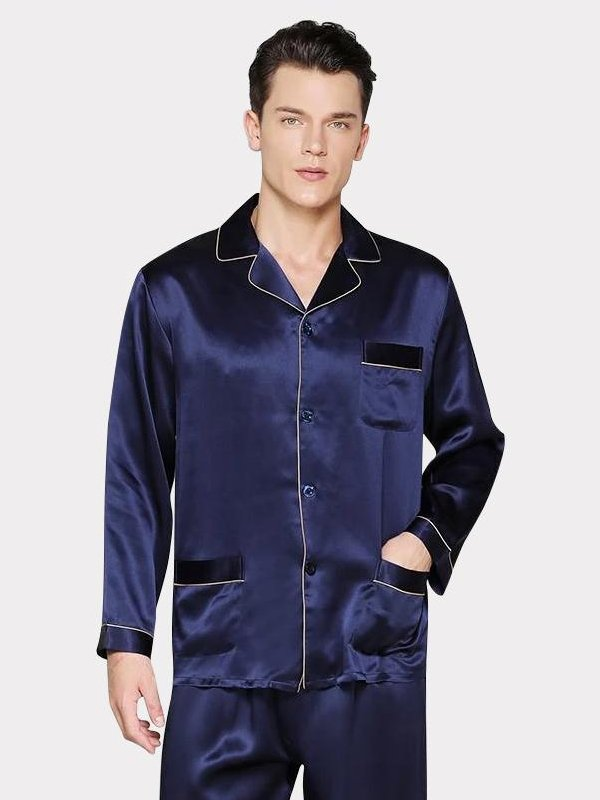 25 Momme High Quality Men's Luxury Navy Blue Long Silk Pajamas with Trimming、Real Silk Life