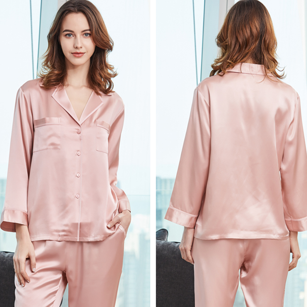 Monogrammed 22 Momme Romantic Long-sleeved Silk Couple Pajamas Sets、Real Silk Life
