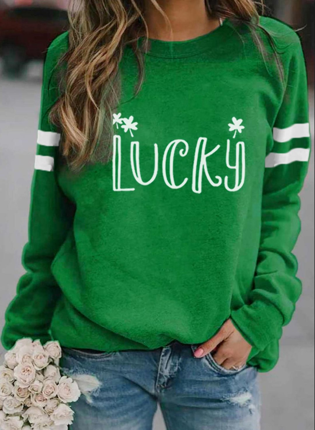 Green Women's Sweatshirts Letter Print Long Sleeve Round Neck Casual Sweatshirt LC2516425-9