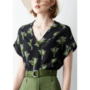 V-neck Plant Print Silk Blouse、Real Silk Life