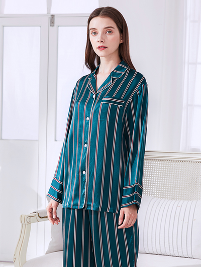 High Quality 19 Momme Peacock Blue Stripes Long Sleeves Silk Pajamas Set For Women 、Real Silk Life