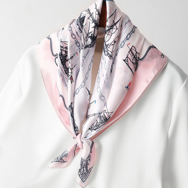 19 Momme European and American Style Printed Silk Scarves、REAL SILK LIFE