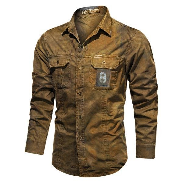 Mens Pure Cotton Washed Outdoor Wear-resistantcasual shirt / [viawink] /