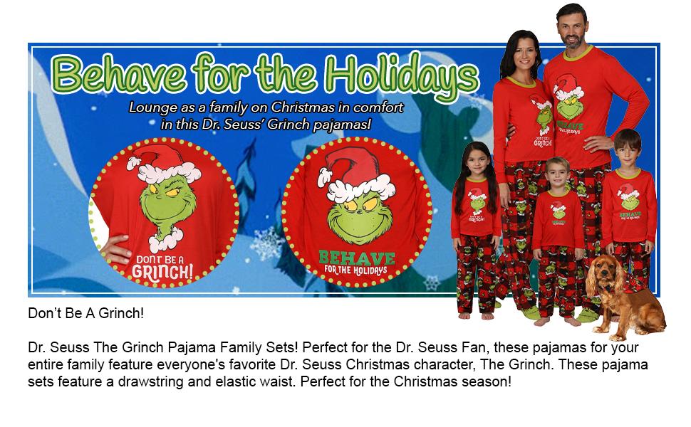 Family Grinch Christmas pajama set red gift holiday
