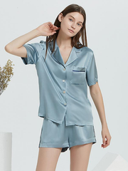 22 Momme High Quality Blue Casual Short Silk Pajamas Set、Real Silk Life