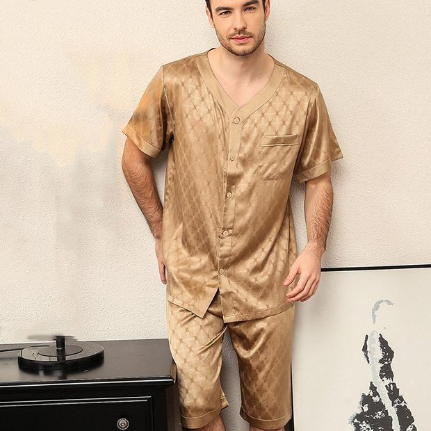25 Momme Luxury Life Style Short Silk Pajamas Set for Men、Real Silk Life