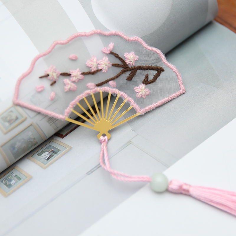 Pink Plum Blossom - Fan Shaped Bookmark Embroidery - Cross Stitch, 501 Original