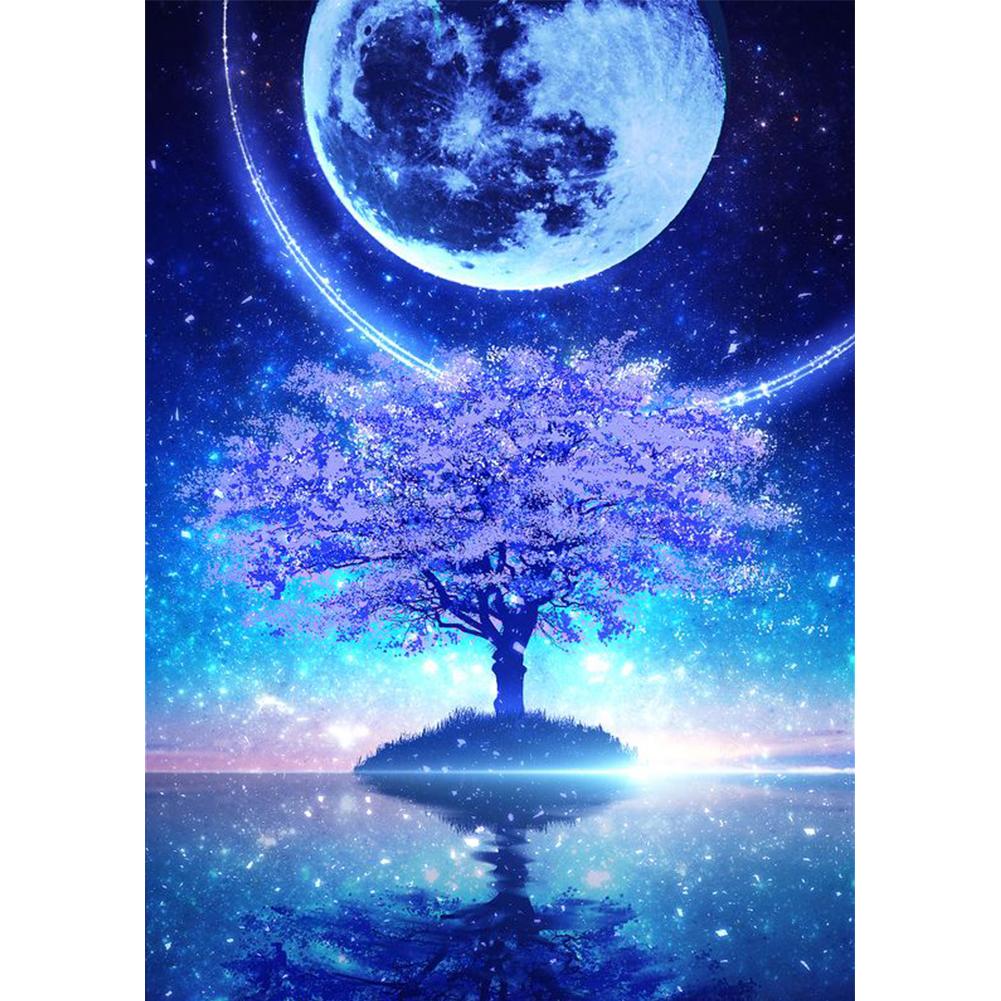 40*50CM - Round Drill Diamond Painting - Moon Star Tree, 501 Original