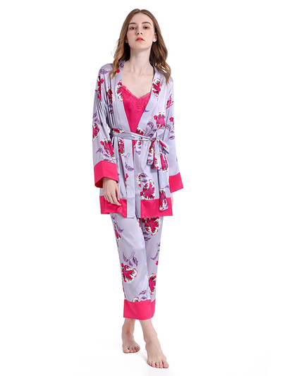 V Neck Printed Silk Pajamas Set|3pcs、Real Silk Life