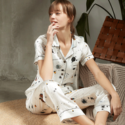 Luxury Height Quality Milky Way Short Sleeve Silk Pajamas Set For Women | Two Colors Selected、Real Silk Life