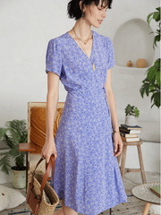 Elegant Lavender Flora Scattered Silk Dress、Real Silk Life