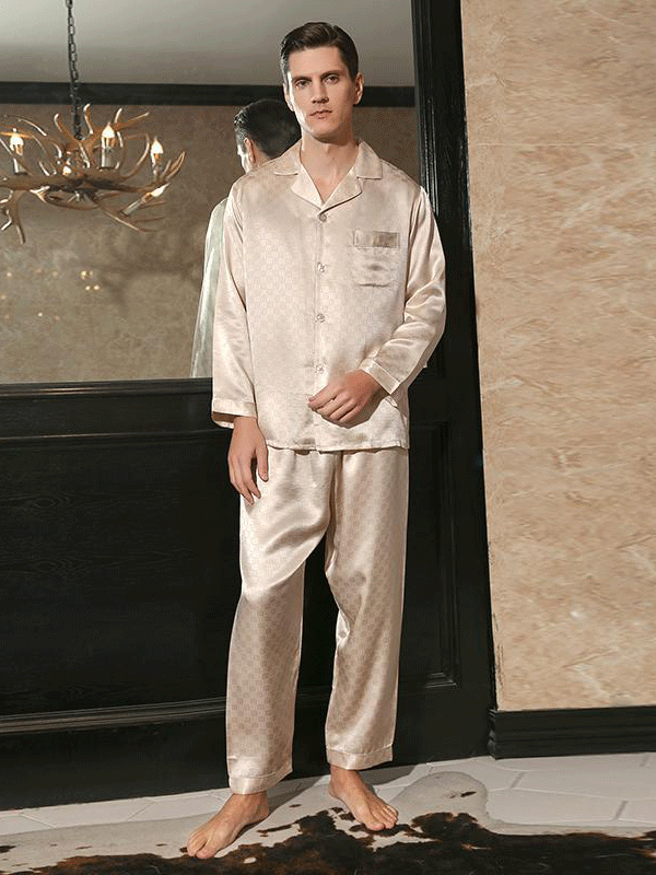 22 Momme Luxury Long Sleeves Square Printed Pajamas Set For Men | Two Colors Selected、Real Silk Life