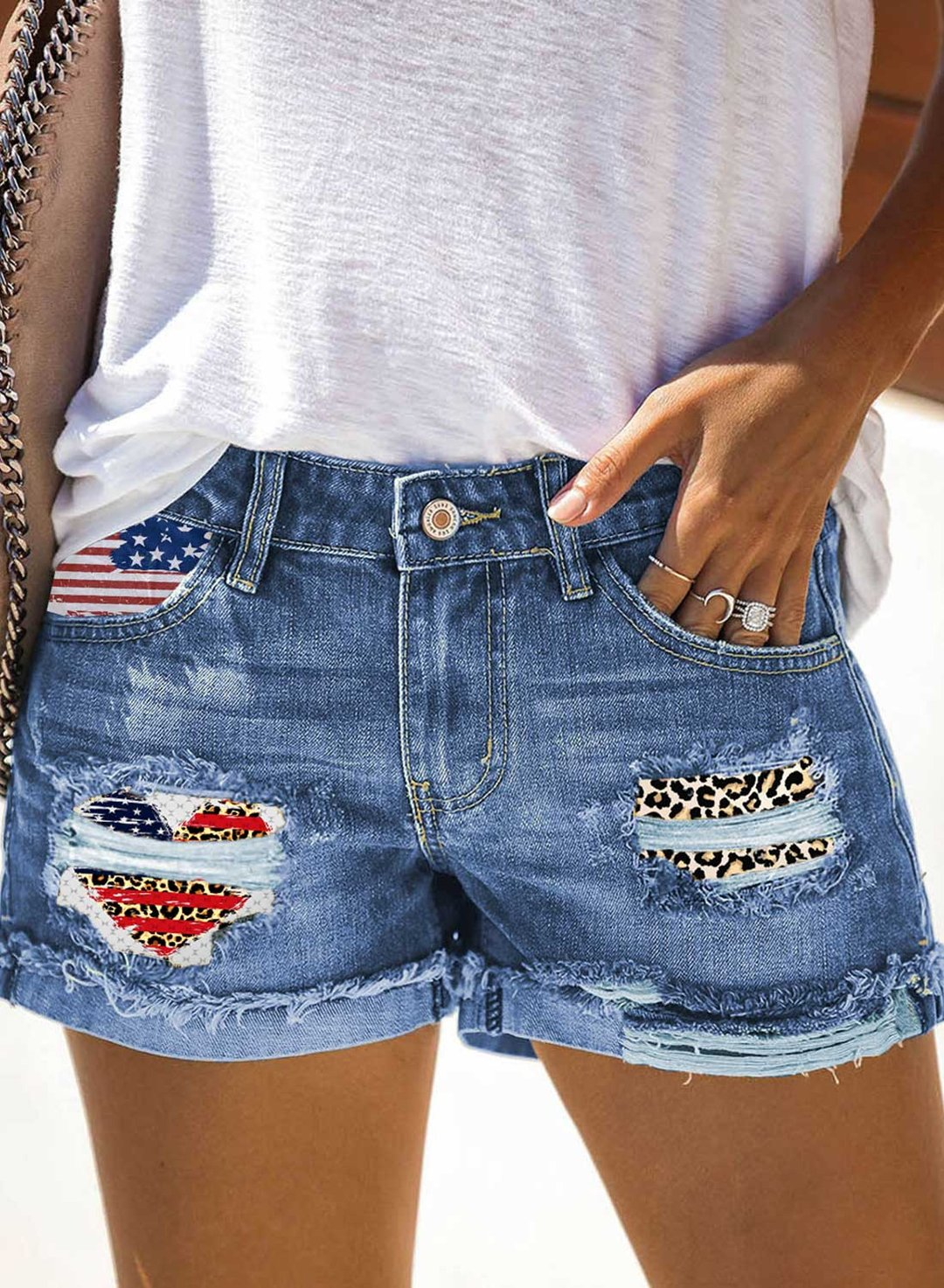 Sky Blue Women's Shorts Leopard Flag Print Patchwork Denim Shorts LC782219-4