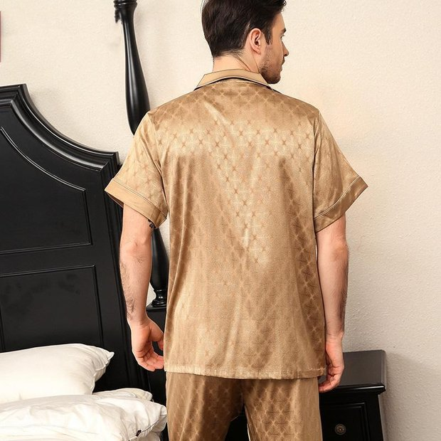 25 Momme Luxury Short Silk Pajamas Set for Men、Real Silk Life