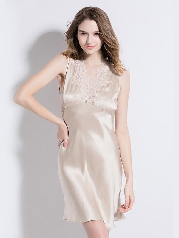 19 Momme Beige Lace Silk Nightgown、Real Silk Life
