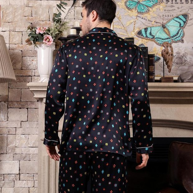 22 Momme High Quality Design 2019 High Quality Printed Silk Pajamas Set for Men、Real Silk Life