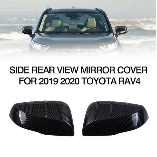 Carbon Fiber Look Rearview Side Mirror Cover Trim 2pcs For Toyota RAV4 2019-2020
