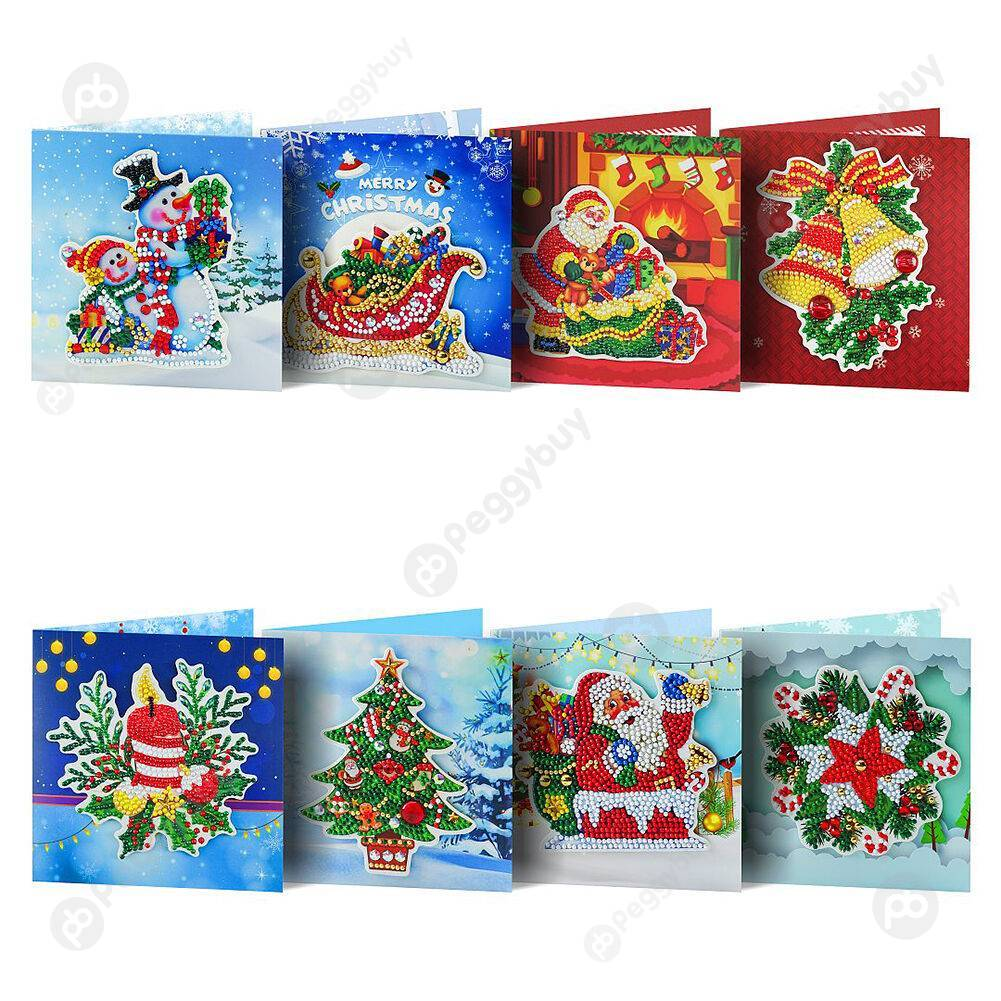 Peggybuy coupon: 8pcs Christmas-DIY Creative Diamond Greeting Card