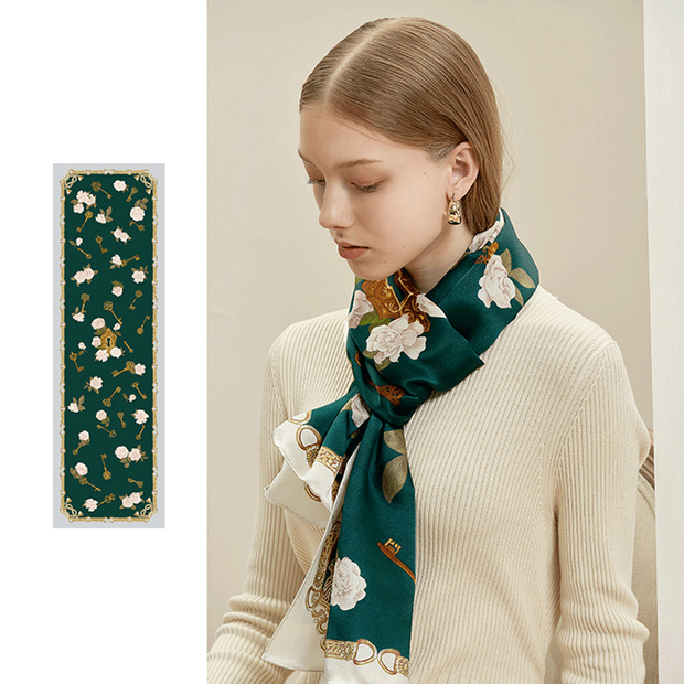 Green Printed Silk Scarf 1023191611 52*172、REAL SILK LIFE