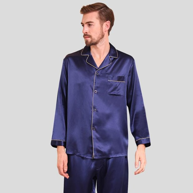 19 Momme Classic Silk Pajamas Set for Men、Real Silk Life