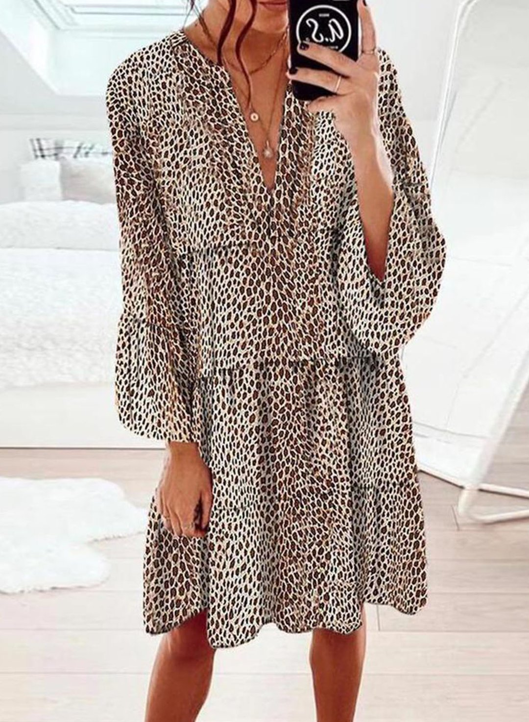 Leopard Women's Dresses Leopard Long Sleeve Shift V Neck Knee Length Dress LC225641-20