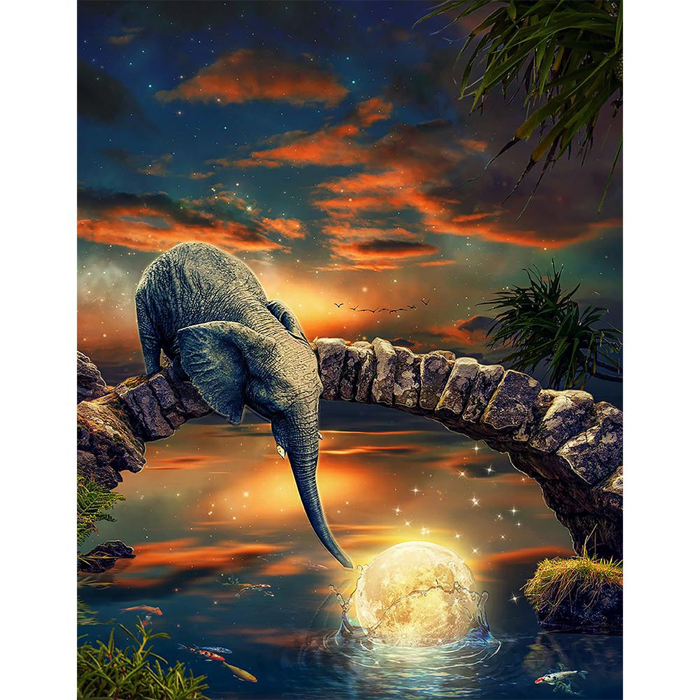 40*50CM-Round Drill Diamond Painting-Elephant Catch Moon, 501 Original