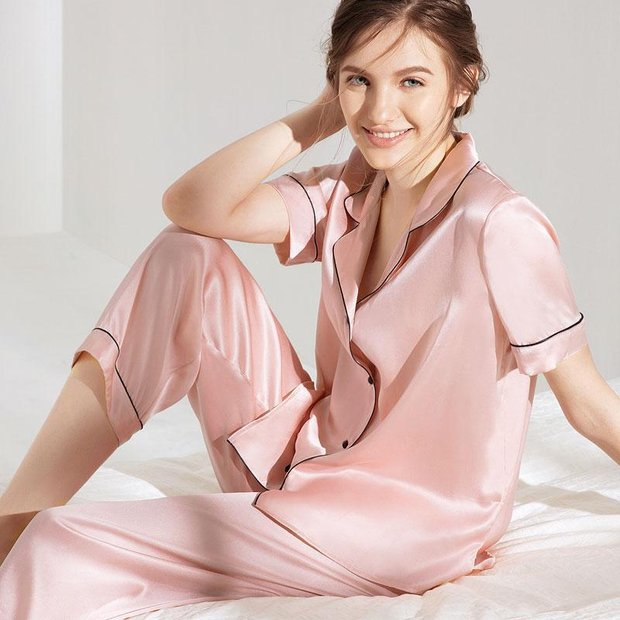 Monogrammed 19 Momme Women's Chic Silk Pajamas Set Multi Colors Selected、Real Silk Life