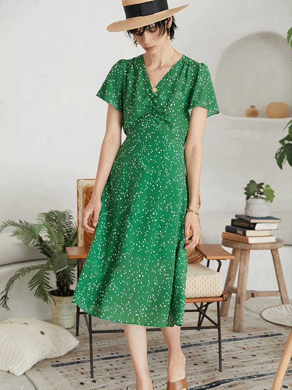 Elegant Green Flora Scattered Silk Dress、Real Silk Life