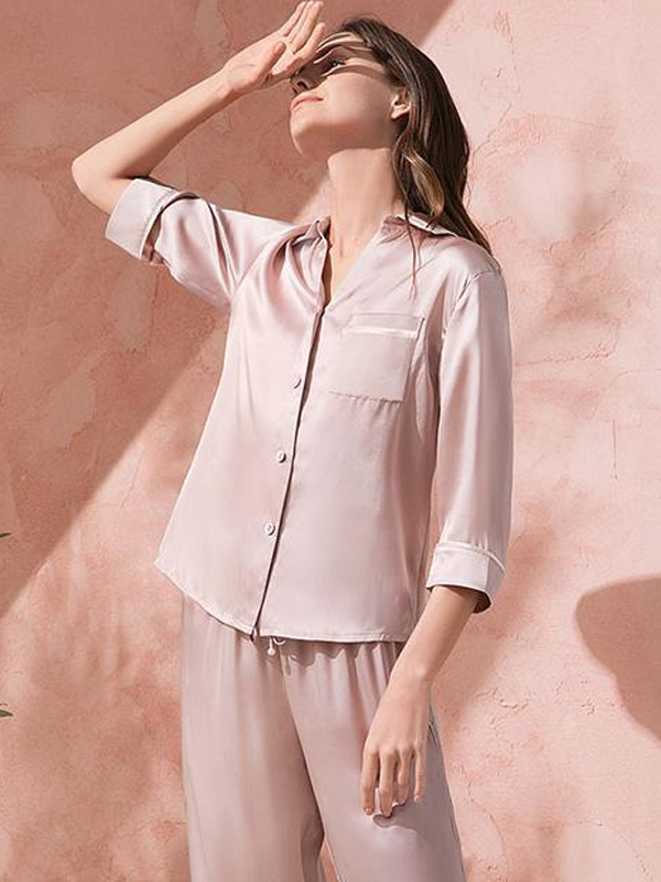 25 Momme Luxury Women's Mode Silk Pajamas Set (Wearable outside)、Real Silk Life