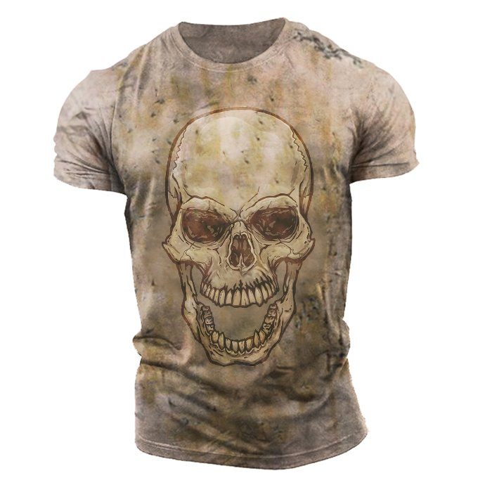 Mens Skull Retro Casual Short Sleeve T-Shirt / [viawink] /