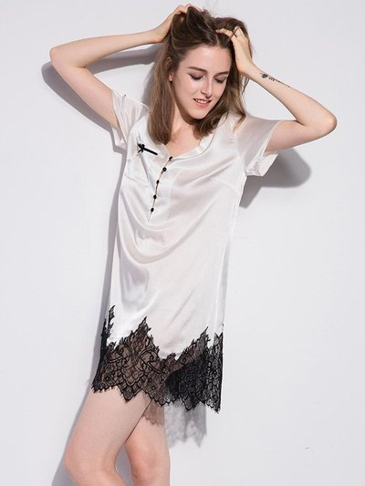 19 Momme French Lace Silk Nightgown、Real Silk Life