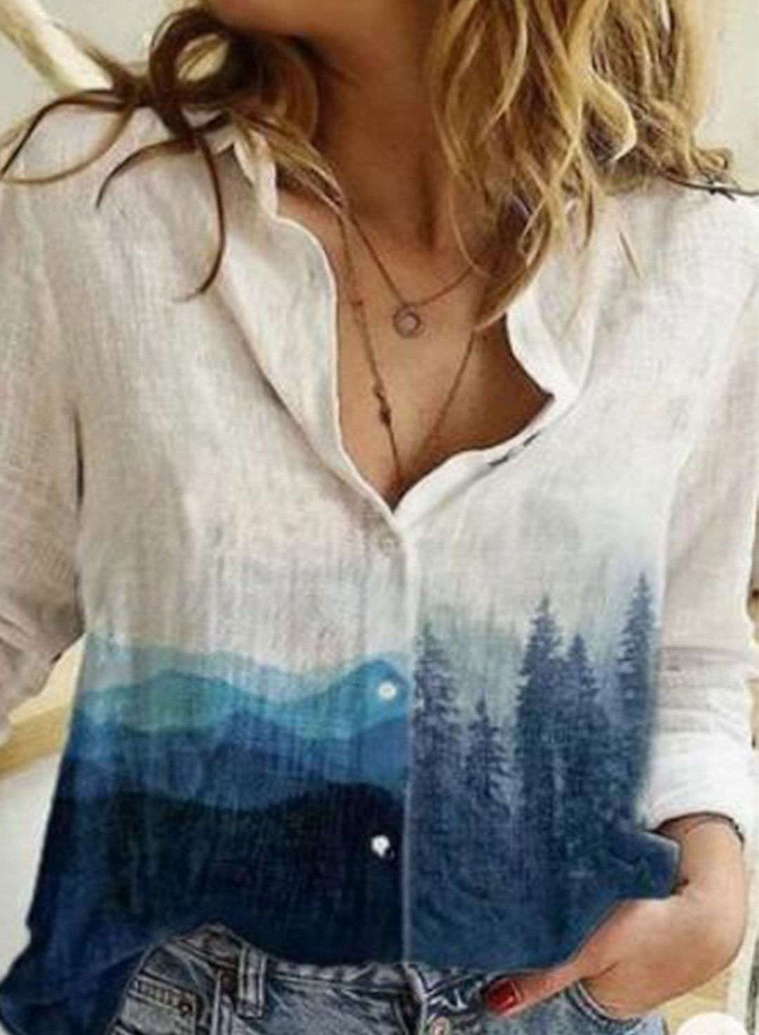 Blue Women's Shirts Landscape Color Block Casual Turn Down Collar Long Sleeve Basic Shirts LC255737-5