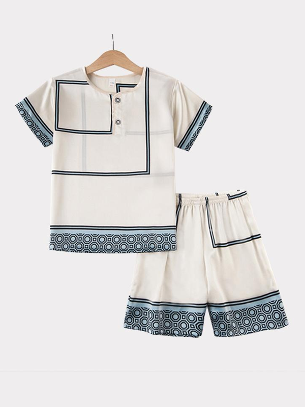 Geometric Printed Silk Pajamas For Kids、REAL SILK LIFE